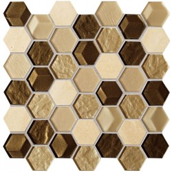 Mozaika Drops stone brown hex 27,5x27,5
